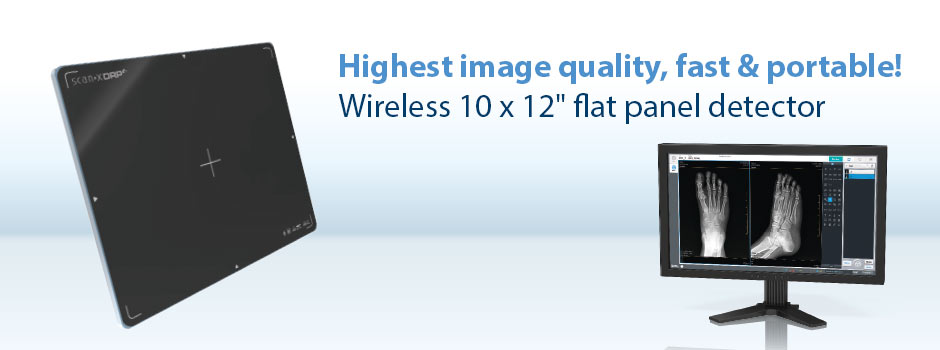 "Highest image quality, fast & portable! Wireless 10 x 12"" flat panel detector"